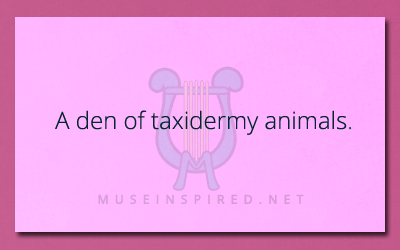 Describe the Setting – A den of taxidermy animals.