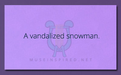 What's the Story – A vandalized snowman.