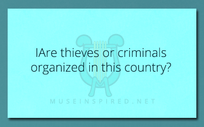Cultivating Cultures – Are thieves or criminals organized in this country?