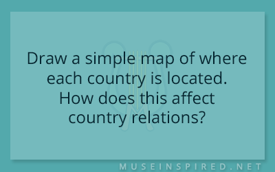 Cultivating Cultures – Draw a simple map of where each country is located. How does this affect country relations?